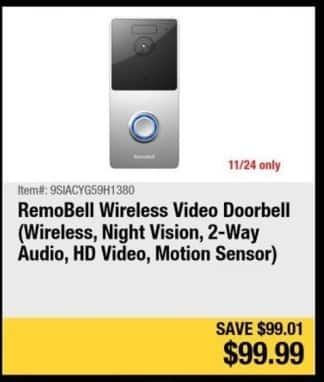 Newegg Black Friday: RemoBell Wireless Video Doorbell for $99.99