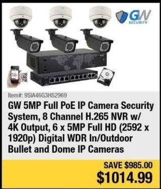 Newegg Black Friday: GW 5MP Full PoE IP Camera Security System for $1,014.99