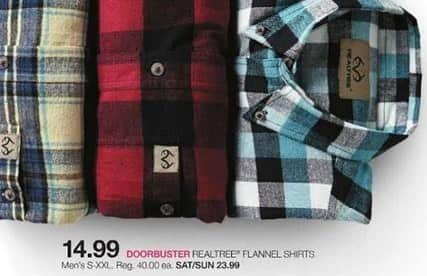 Stage Stores Black Friday: Realtree Men's Flannel Shirts (S-XXL) for $14.99