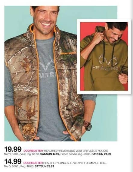 Stage Stores Black Friday: Realtree Men's Reversible Vest or Fleece Hoodie (S-XXL) for $19.99
