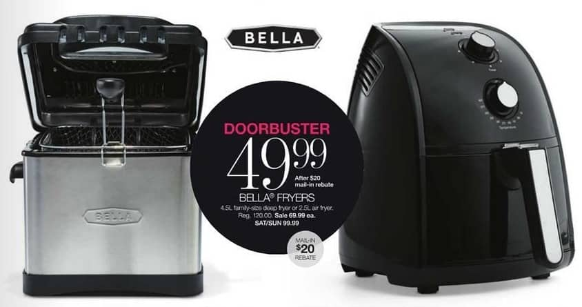 Stage Stores Black Friday: Bella 4.5L Family-Size Deep Fryer or 2.5L Air Fryer for $49.99 after $20 rebate