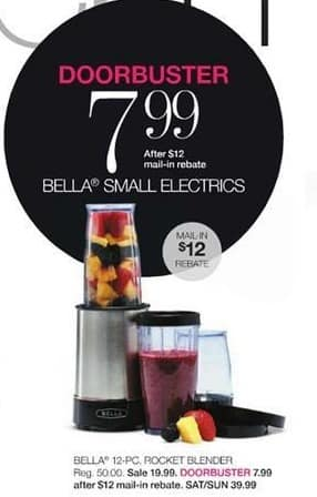 Stage Stores Black Friday: Bella 12-pc. Rocket Blender for $7.99 after $12 rebate