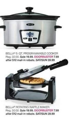 Stage Stores Black Friday: Bella 5-qt. Programmable Cooker for $7.99 after $12 rebate