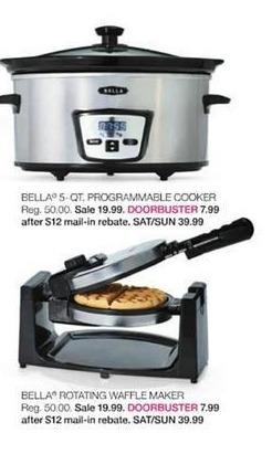 Stage Stores Black Friday: Bella Rotating Waffle Maker for $7.99 after $12 rebate