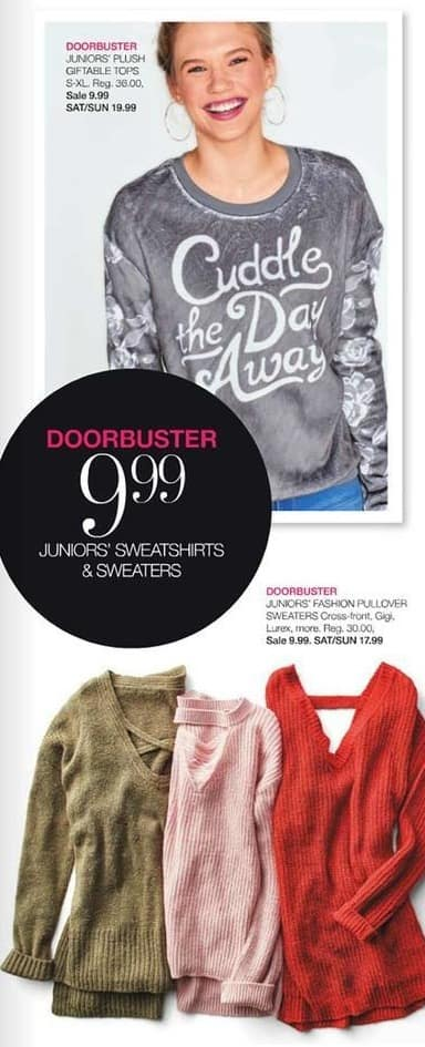 Stage Stores Black Friday: Juniors' Plus Giftable Sweaters for $9.99