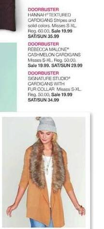 Stage Stores Black Friday: Rebecca Malone Cashmelon Cardigans (Misses S-XL) for $19.99