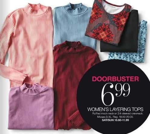 Stage Stores Black Friday: Women's Layering Tops for $6.99