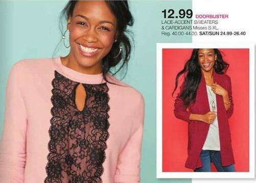 Stage Stores Black Friday: Lace-Accent Sweaters and Cardigans (Misses S-XL) for $12.99