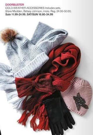 Stage Stores Black Friday: Steven Madden, Betsey Johnson and More Cold-weather Accessories (Including Sets) for $11.99 - $24.99