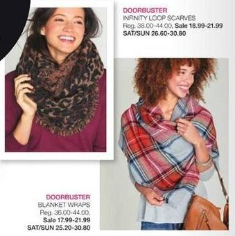 Stage Stores Black Friday: Infinity Loop Scarves for $18.99 - $21.99