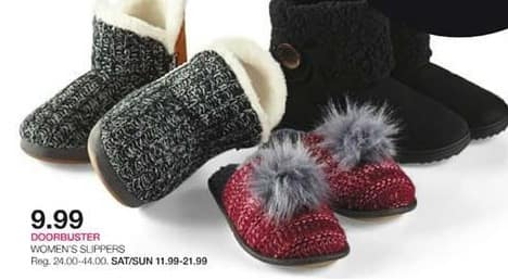 Stage Stores Black Friday: Women's Slippers for $9.99