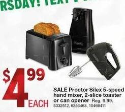 Kmart Black Friday: Proctor Silex 5-Speed Hand Mixer, 2-Slice Toaster or Can Opener for $4.99