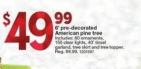 Kmart Black Friday: 6' Pre-Decorated American Pine Tree for $49.99
