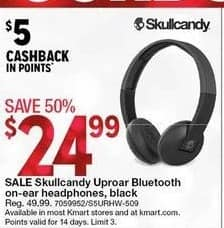 Kmart Black Friday: Skullcandy Uproar Bluetooth On-Ear Headphones (Black) + $5 Cashback Points for $24.99