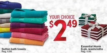 Kmart Black Friday: Essential Home 8-pk. Washcloths or Sutton Bath Towels for $2.49