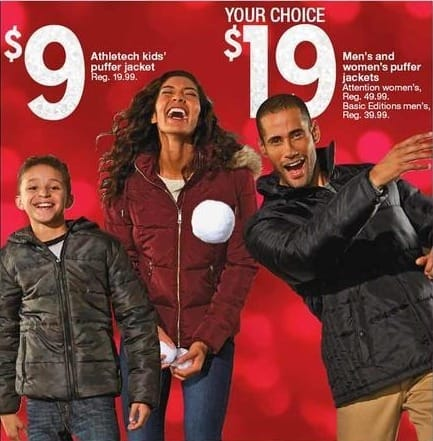 Kmart Black Friday: Men's and Women's Puffer Jackets for $19.00