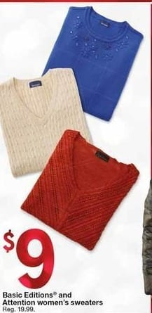 Kmart Black Friday: Basic Editions and Attenion Women's Sweaters for $9.00