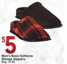 Kmart Black Friday: Men's Basic Editions Stooge Slippers for $5.00
