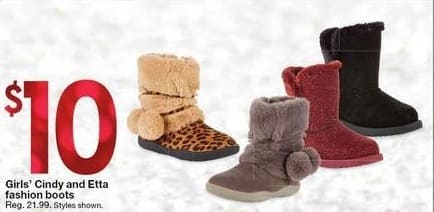 Kmart Black Friday: Girls' Cindy and Etta Fashion Boots for $10.00