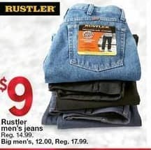 Kmart Black Friday: Rustler Big Men's Jeans for $12.00