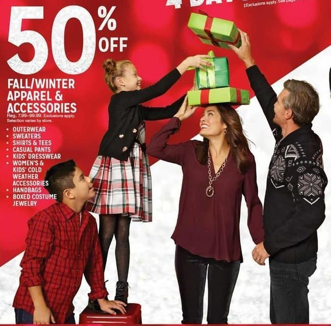 Kmart Black Friday: Select Fall and Winter Apparel and Accessories - 50% Off