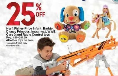 Kmart Black Friday: Select Toys: Nerf, Fisher-Price Infant, Barbie, Disney Princess, Imaginext, WWE, Cars 3 and Radio Control - 25% Off
