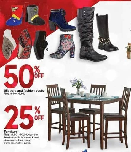 Kmart Black Friday: Slippers and Fashion Boots - 50% Off