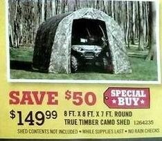 Tractor Supply Co Black Friday: 8-ft. x 8-ft x 7-ft. Round True Timber Camo Shed for $149.99