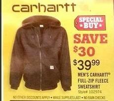 Tractor Supply Co Black Friday: Men's Carhartt Full-Zip Fleece Sweatshirt for $39.99