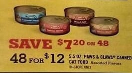 Tractor Supply Co Black Friday: (48) 5.5-oz. Paws & Claws Canned Cat Food for $12.00