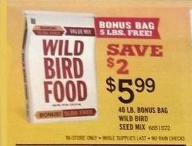 Tractor Supply Co Black Friday: 40-lb. Bonus Bag Wild Bird Seed Mix for $5.99