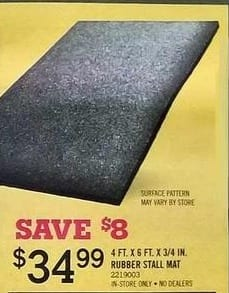 Tractor Supply Co Black Friday: 4-ft. x 6-ft. x 3/4-in. Rubber Stall Mat for $34.99