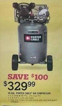 Tractor Supply Co Black Friday: 30-gal. Porter Cable Air Compressor for $329.99