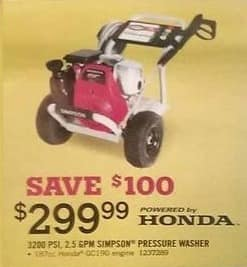 Tractor Supply Co Black Friday: 3200 Psi Simpson Pressure Washer for $299.99