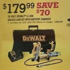 Tractor Supply Co Black Friday: 20-volt Dewalt Li-Ion Grease Gun Kit with Battery Charger for $179.99