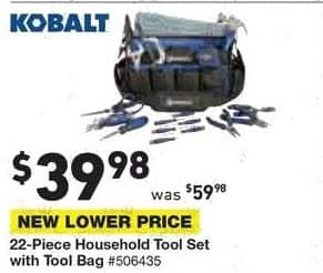 Lowe's Black Friday: Kobalt 22-piece Household Tool Set with Tool Bag for $39.98