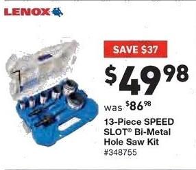Lowe's Black Friday: Lenox 13-pc. Speed Slot Bi-Metal Hole Saw Kit for $49.98