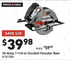 Lowe's Black Friday: Porter-Cable 15-Amp 7-1/4-in Corded Circular Saw for $39.98