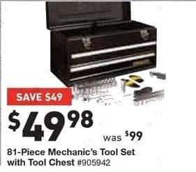 Lowe's Black Friday: 81-pc Mechanic's Tool Set with Tool Chest for $49.98