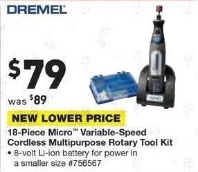 Lowe's Black Friday: Dremel 18-pc. Micro Variable-Speed Cordless Multipurpose Rotary Tool Kit for $79.00