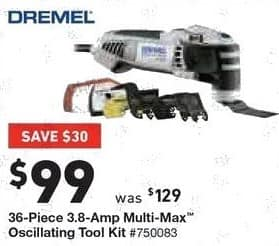Lowe's Black Friday: Dremel 36-pc. 3.8-Amp Multi-Max Oscillating Tool Kit for $99.00
