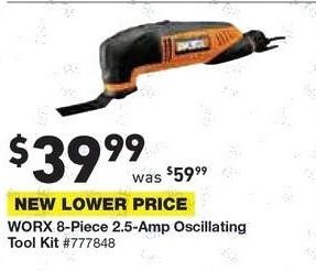 Lowe's Black Friday: Worx 8-pc. 2.5-Amp Oscillating Tool Kit for $39.99