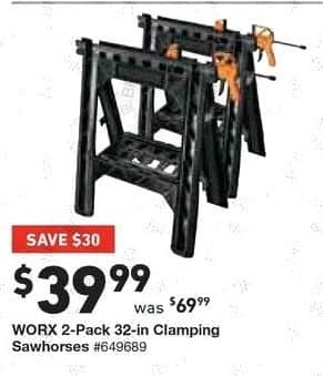 Lowe's Black Friday: Worx 2-pk. 32-in. Clamping Sawhorses for $39.99