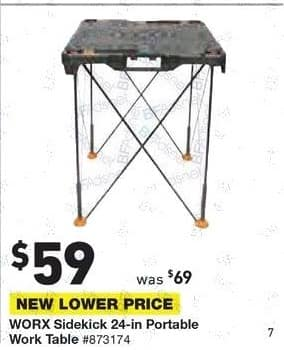 Lowe's Black Friday: Worx Sidekick 24-in. Portable Work Table for $59.00