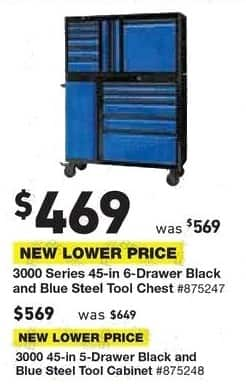 Lowe's Black Friday: 3000 Series 45-in. 6-Drawer Black and Blue Steel Tool Chest for $469.00