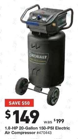 Lowe's Black Friday: 1.8-HP 20-Gallon 150-PSI Electric Air Compressor for $149.00
