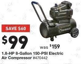Lowe's Black Friday: 1.8-HP 8-Gallon 150-PSI Electric Air Compressor for $99.00