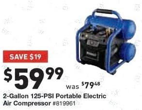 Lowe's Black Friday: 2-Gallon 125-PSI Portable Electric Air Compressor for $59.99