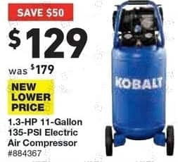 Lowe's Black Friday: Kobalt 1.3-Hp 11-Gallon 135-PSI Electric Air Compressor for $129.00