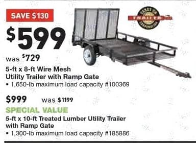 Lowe's Black Friday: 5-ft. x 10-ft. Treated Lumber Utility Trailer with Ramp Gate for $999.00